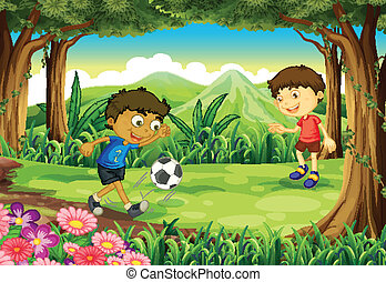 A forest with two boys playing soccer
