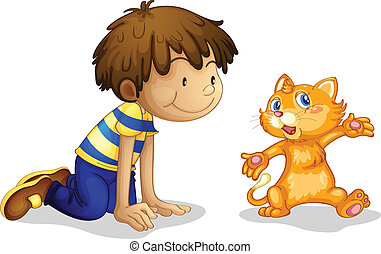 A young boy and his adorable kitten - Illustration of a...