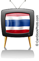 The flag of Thailand inside the television - Illustration of...