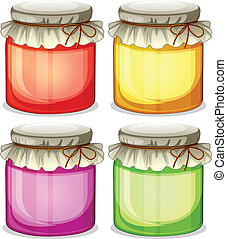 Four colorful jars that are  tightly covered
