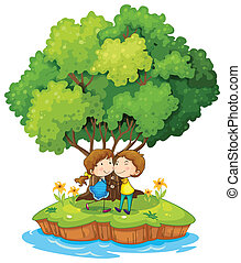 An island with a sweet couple - Illustration of an island...