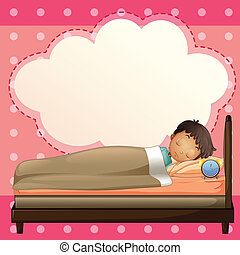 A boy sleeping with an empty callout template - Illustration...