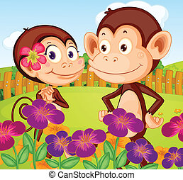 Two monkeys at the garden in the hilltop - Illustration of...