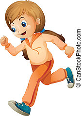 A girl jogging with her orange outfit - Illustration of a...