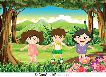 Three playful kids at the jungle