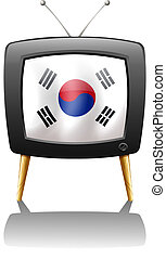 A TV with the flag of Korea - Illustration of a TV with the...