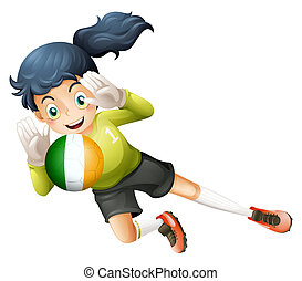 A female player using the ball with the flag of Ireland