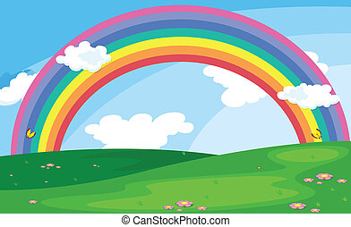 A green landscape with a rainbow in the sky - Illustration...