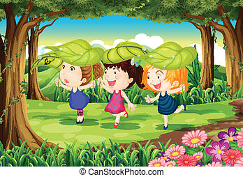 Three playful kids at the forest