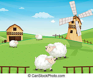A farm at the hills with sheeps - Illustration of a farm at...