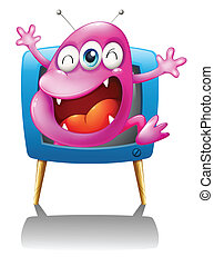 A blue TV with a pink monster - Illustration of a blue TV...
