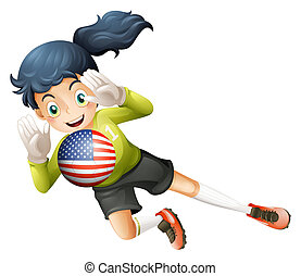 A female soccer player with the United States flag