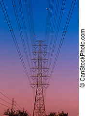 electricity pylon at the sunset
