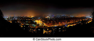 City nightscape of Cluj Napoca, Romania - Panorama city...