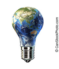 Light bulb with planet Earth in place of glass. Asia view.