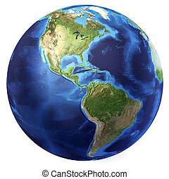 Earth globe, realistic 3 D rendering. Americas North and...