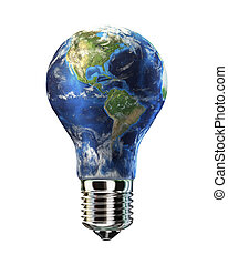 Light bulb with planet Earth in place of glass. Amaricas view.