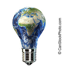 Light bulb with planet Earth in place of glass. Africa & Europe view. On white background. Clipping path included.