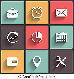 Application Web Icons in Flat Design - Application Icons in...