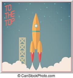 retro, wohnung, design, Rakete, start, Raum, sternen,...