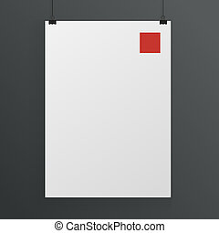 White poster mock up template vector - White poster mock up...