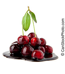 cherry in a chocolate on a white background