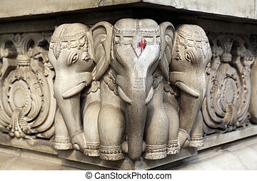 Stone carvings in Hindu temple Birla Mandir in Kolkata,...