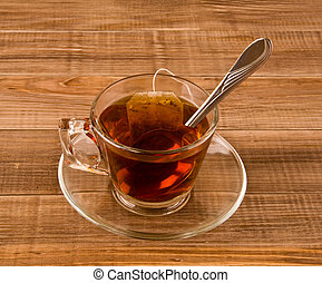 cup tea on a wooden table
