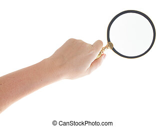 Hand holding a magnifying glass - Someones hand holding a...