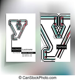 Business card design with letter y