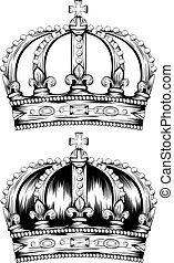 corona - Vector illustration of abstract crown set