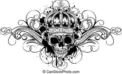 skull in crown with patterns
