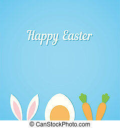 Vector Happy Easter card background with minimal flat rabbit ears, boiled egg and fresh carrot - symbols of Easter