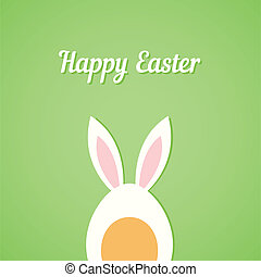 Vector Easter egg with rabbit ears, green card background