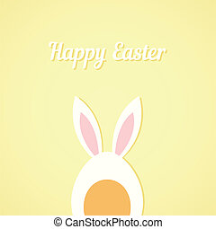 Vector Easter egg with rabbit ears, yellow card background