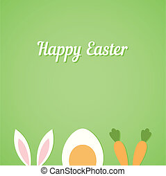 Vector Happy Easter card green background with minimal flat...