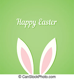 Easter card with ears of bunny on green