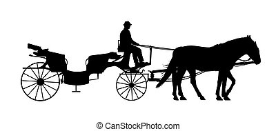 old style carriage with two horses and a coachman silhouette...