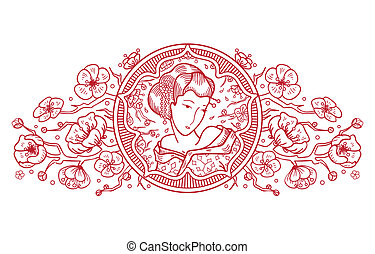 Oriental ornament with cherry blossom and beautiful woman