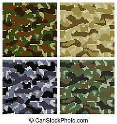 Pixel Camouflage Patterns - Seamless Pixel Camouflage...