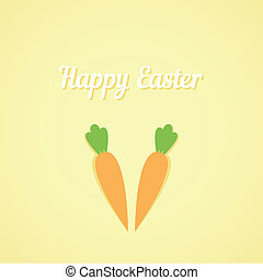 Vector Easter carrot yellow card template