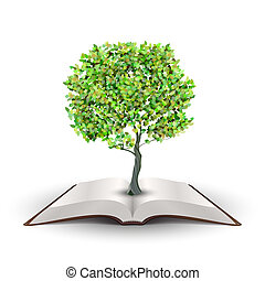 Tree on open book - Tree growing from open book isolated on...