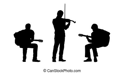 musicians silhouettes set 2 - black silhouettes of two...