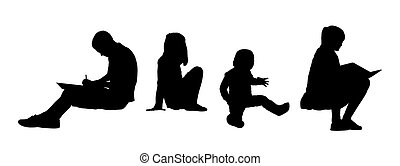 people seated outdoor silhouettes set 4