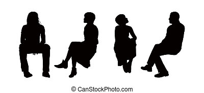 people seated outdoor silhouettes set 6