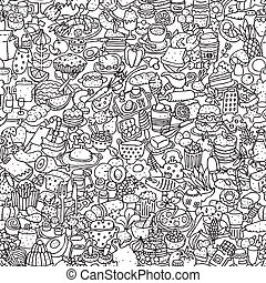 Food seamless pattern in black and white repeated with mini...