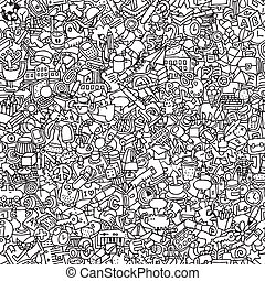 School seamless pattern in black and white repeated with...