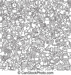 Web seamless pattern in black and white repeated with mini...