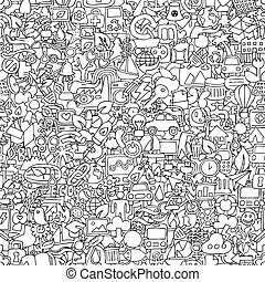 Ecology seamless pattern in black and white