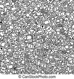 Icons seamless pattern in black and white repeated with mini...